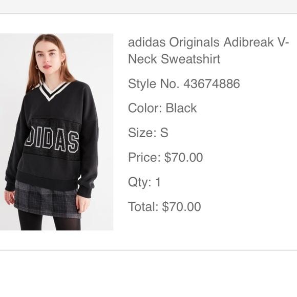 adidas originals adibreak v neck sweatshirt